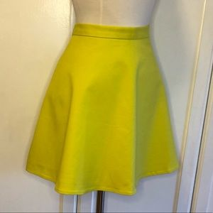 Club Monaco Chartreuse Fit and Flare Skirt